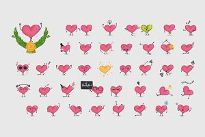 40 x Heart character set