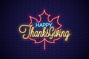 Thanksgiving neon sign.
