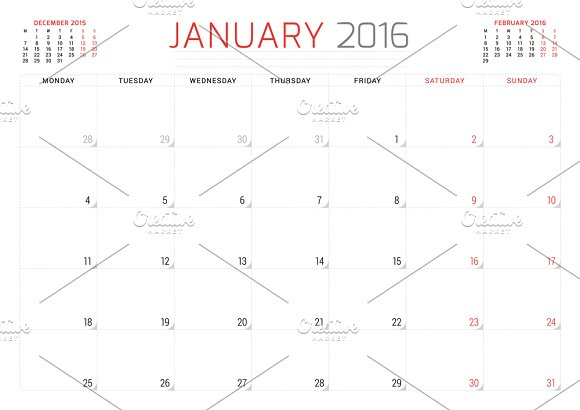 monthly planner 2016 stationery templates creative market