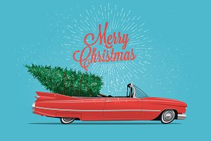 Red cabriolet with Christmas Tree