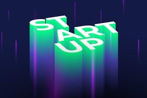 Startup 3D lettering.