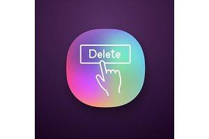 Delete button click app icon