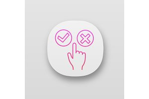 Accept and decline buttons app icons