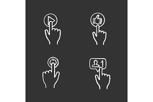 App buttons chalk icons set