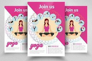 Yoga Fitness PSD Flyer Templates