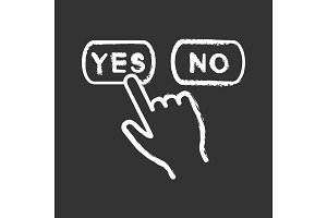 Yes or no click chalk icon