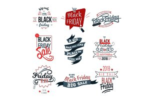 Black Friday big sale logo sign set