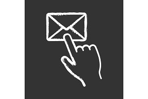 Mail button click chalk icon