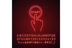 Start button click neon light icon