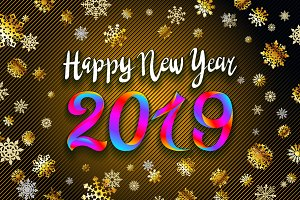 Gold snow 2019 happy new year vector