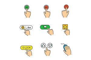 App buttons color icons set