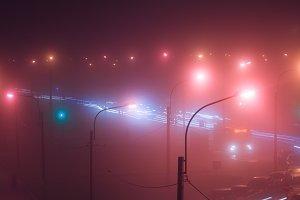 Neon lights of night city