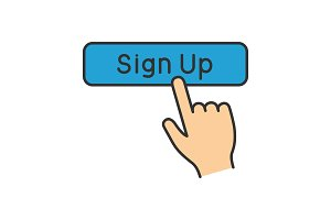 Sign up button click color icon