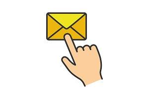 Mail button click color icon