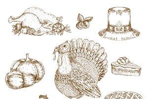 Thanksgiving Day Elements Set