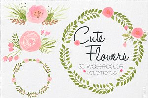Watercolor Cute Flowers
