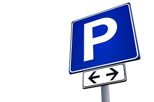Parking signal over white