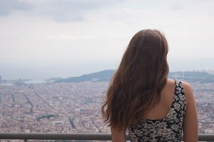 Girl staying on observation deck