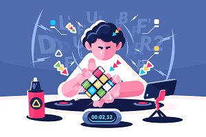 Man collect Rubik Cube
