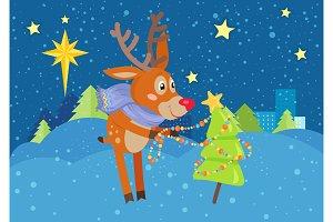 Deer in Scarf Decorating Christmas