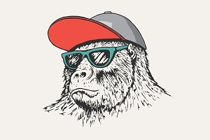 gorilla wearing a cap and sunglasses