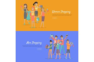 Women and Men Shopping Banners