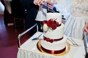 Wedding couple cut wedding cake with