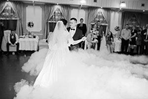 First wedding dance of newlyweds on