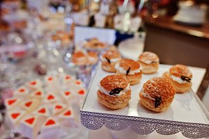 Different delicious cakes on wedding
