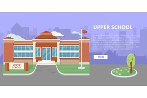 Upper School Building Vector in Flat