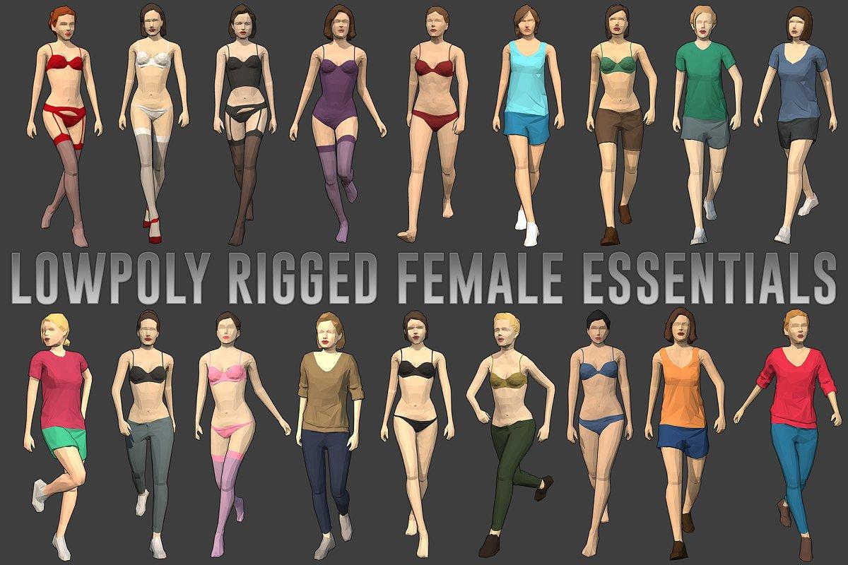 Lowpoly Rigged Female Essentials