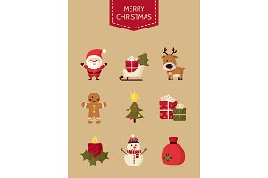 Christmas icons set. Holiday objects