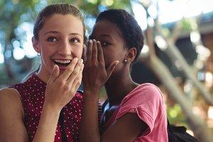 Schoolgirls whispering