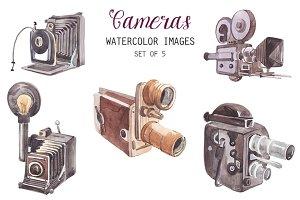 Watercolor Vintage Cameras Clipart