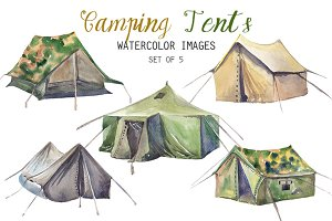 Watercolor Camping Tents Clipart