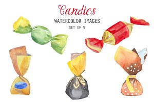 Watercolor Candies Clipart