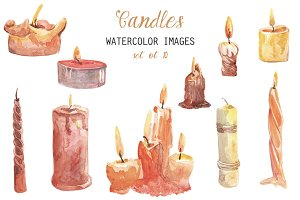 Watercolor Candles Clipart