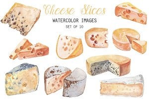 Watercolor Cheese Slices Clipart