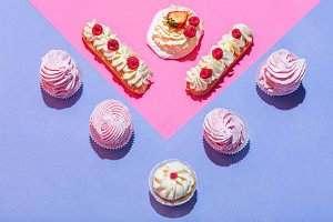Sweet desserts in a pastel triangula