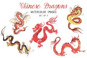 Watercolor Chinese Dragons Clipart