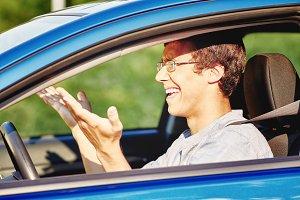 Annoyed guy in car