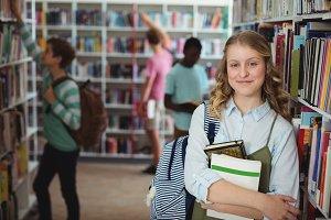 Portrait of happy schoolgirl