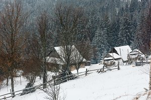 Early morning winter mountain villag