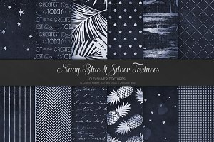 Navy Blue & Silver Textures