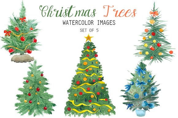 Watercolor Christmas Trees Clipart Illustrations Creative Market