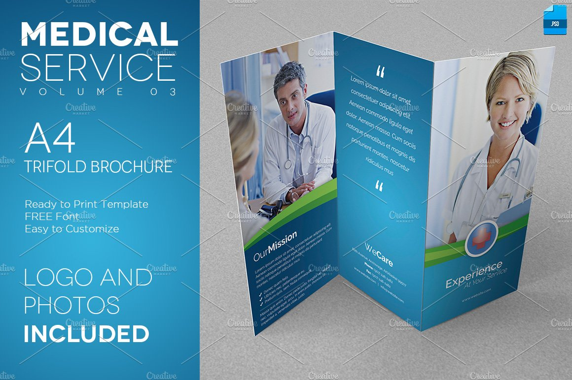 Medical Service A Trifold Flyer Flyer Templates Creative - Free medical brochure templates