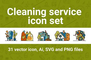 Cleaning icon set of 31 emblems