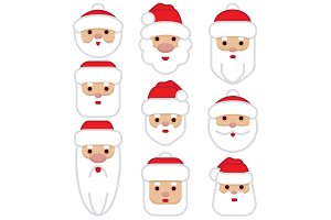 Set Santa Claus Cartoon Character