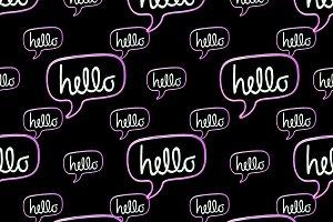 Hello Text Banner Motif Seamless Pat
