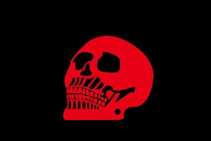 Halloween skull red color icon vecto